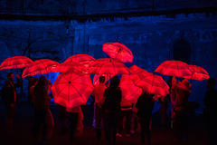 Red umbrella illuminated by led lamps in the night Royalty Free Stock Image