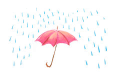 Red umbrella illustration Royalty Free Stock Photography