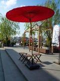Red umbrella  LHONG 1919 in Bangkok,Thailand royalty free stock photography