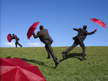 Red umbrella man Royalty Free Stock Photo
