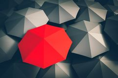 Red umbrella and many black umbrellas around royalty free illustration