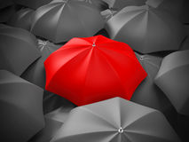 Red umbrella out from crowd of many black and umbrellas. Individ Royalty Free Stock Photography