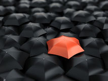 Red umbrella over many black umbrellas Stock Images
