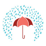 Red umbrella protect from rain image Royalty Free Stock Photo