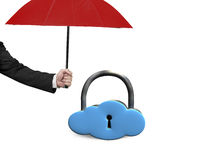 Red umbrella protect sky blue cloud lock Stock Photography