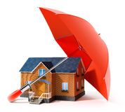 Red umbrella protecting house from rain. 3d illustration Stock Photos
