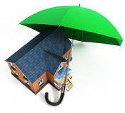 Red umbrella protecting house from rain Stock Image