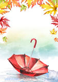 Red umbrella in a puddle and frame of leaves. Watercolor h Royalty Free Stock Photo