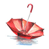 Red umbrella in a puddle isolated on white background. Watercolor  illustration Royalty Free Stock Images
