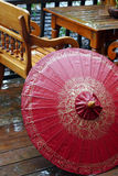 Red Umbrella in the Rain Royalty Free Stock Images