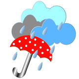 Red umbrella with the rain Stock Images