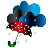 Red umbrella with the rain Stock Photo