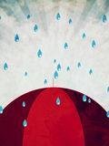 Red umbrella and rain Stock Images
