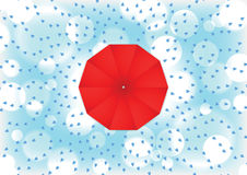 Red umbrella with rain drop Royalty Free Stock Photography