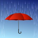 Red umbrella and rain drops Stock Images