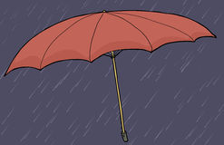 Red Umbrella in Rain Royalty Free Stock Photos