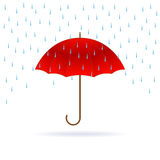 Red umbrella and rain. Royalty Free Stock Photo