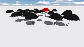 Red umbrella. Standing Out From The Crowd made in 3d software Stock Photo