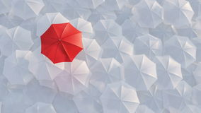 Red umbrella standing out from crowd mass concept. Red umbrella open and standing out from crowd mass white umbrellas, design background text concept, above stock video footage