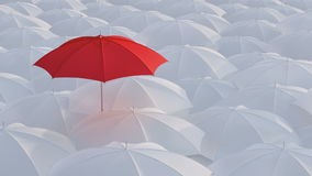 Red umbrella standing out from crowd mass concept. Red umbrella open and standing out from crowd mass white umbrellas, design background text concept, high point stock video