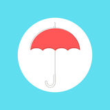 Red umbrella in stroke-style. Modern vector illustration Royalty Free Stock Photography