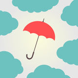 Red umbrella surrounded by clouds. Vector illustration Stock Photos