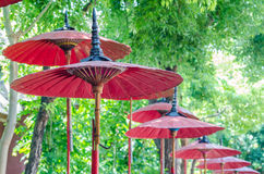 Red umbrella in thai temple. On Thailand Royalty Free Stock Photography
