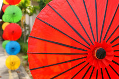 Red Umbrella. These are Umbrellas. It is Souvenir of Chiang Mai at Thailand stock photography