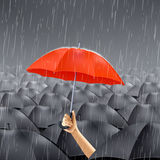 Red Umbrella Under Rain Royalty Free Stock Image