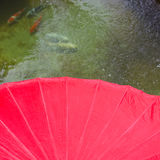 Red umbrella on water Royalty Free Stock Images
