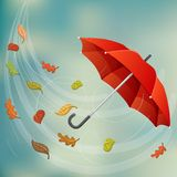 Red umbrella in wind with autumn leaf. Red umbrella flying in wind with fallen leaf. Vector illustration for autumn and fall season, with rainy storm sky Royalty Free Stock Photography