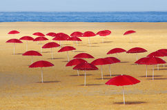 Red Umbrellas Royalty Free Stock Photography