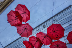 Red umbrellas in Belgrade Royalty Free Stock Photography