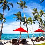 Red umbrellas and chairs on sand beach in tropic Royalty Free Stock Photography