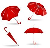 Red umbrellas set Stock Photo