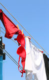 Red underpants for Women and red bra hanging out to dry Stock Photo