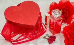 Free Red Underwear Knickers In Gliter Red Box Heart Shaped And Perfume Lingerie Lipstick Jewellery Royalty Free Stock Image - 171839496