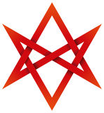 Red Unicursal Hexagram 3D Stock Photography