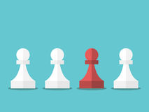 Red unique chess pawn. Standing among white ones on turquoise blue background. Leadership, uniqueness and competition concept. Flat design. EPS 8 vector Stock Photos