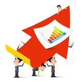 Red Up Arrow with Businessmen and Cuccess Graph. Vector Illustration royalty free illustration