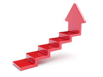 Red up arrow stairs. 3d rendering of red up arrow stairs  on white background Stock Photography