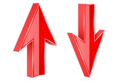 Red UP and DOWN arrows. 3d shiny signs. Vector illustration isolated on white background vector illustration