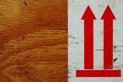 Red up sign on the wood board Royalty Free Stock Images