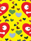 Red Upset Heart Face Pattern Royalty Free Stock Photo