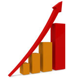 Red upward arrow and bar chart Stock Photography