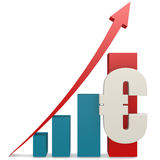 Red upward arrow with euro sign Royalty Free Stock Images