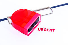 Red urgent stamp on white paper with clipboard Royalty Free Stock Photography