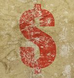 Red US dollar icon sign over grunge background royalty free stock image