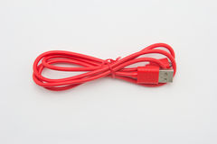 Red USB Cable Plug Royalty Free Stock Photography