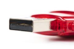 Red usb flash drive. Macro Stock Image